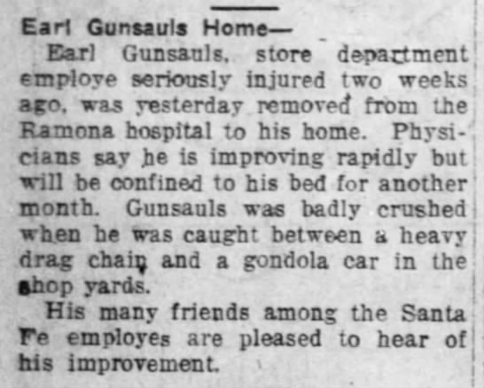 Earl Gunsauls home from hospital -