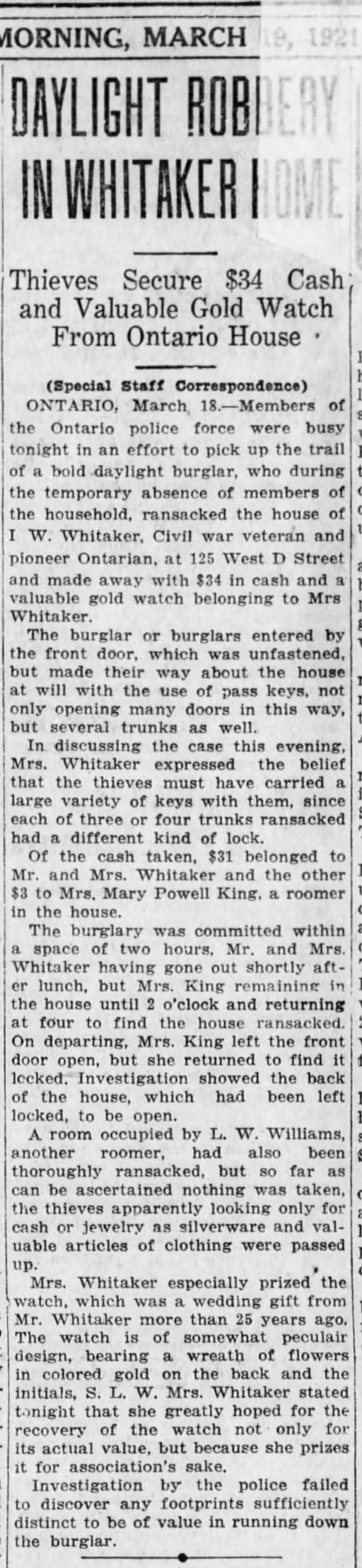 1921-03-19 WHITAKER WILLIAM HOUSE ROBBED -