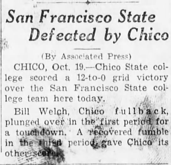San Francisco State Defeated by Chico -