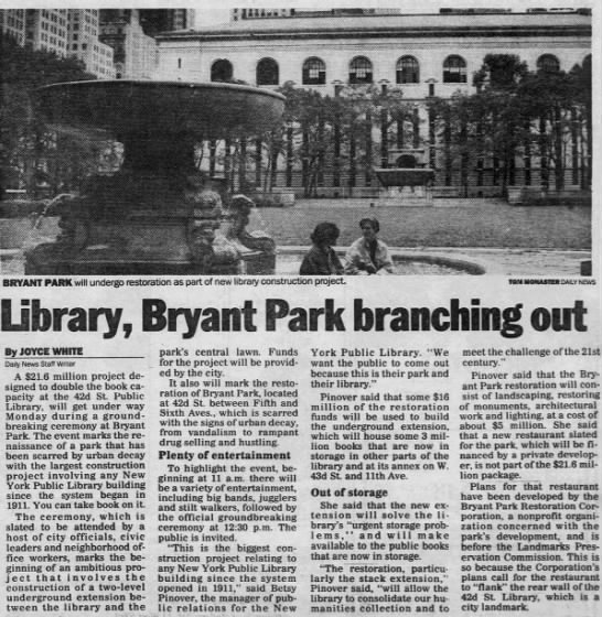 Library, Bryant Park branching out -