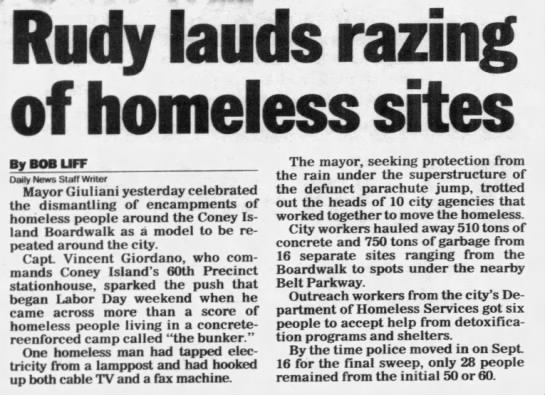 Rudy lauds razing of homeless sites -