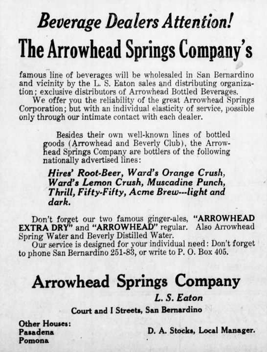 Arrowhead Springs Company -