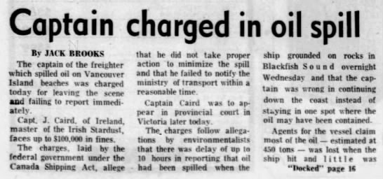 Captain charged in oil spill from Irish Stardust ship (Canada 1973) -