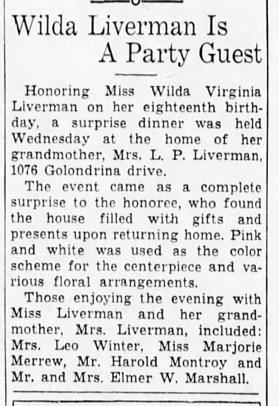 28 april 1939 surprise 18th birthday aprty for wilda liverman -