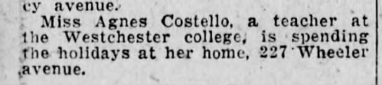 Agnes Costello Home from Westchester College for Christmas Scr Rep Dec 24 1924 pg 7 -