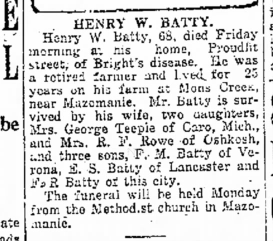 Henry W Batty Obituary -