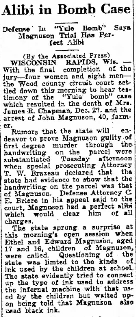 Magnuson Claims Alibi in Bomb Case - 1923 -