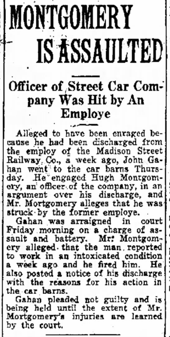John Gahan hit his boss when fired after he arrived drunk at his street car operator job -