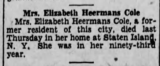 Elizabeth Heermans Cole obituary -