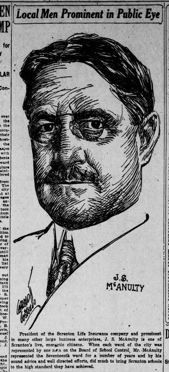 Jerry Costello Portrait of J S McAnulty Scr Rep Jul 29 1918 pg 2 -