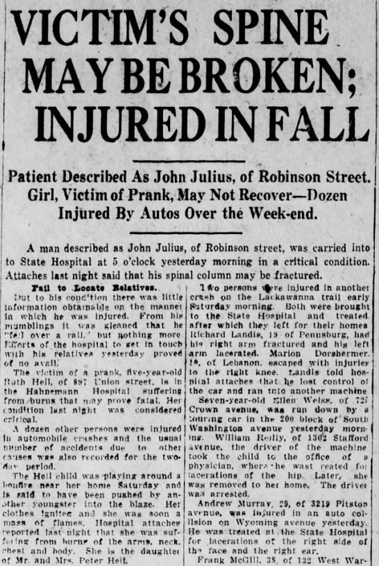 - VICTIM'S SPINE MAY BE BROKEN; IN JURED IN FALL...