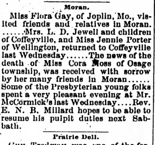 Mention of Cora Moss death - The Iola Register 20 July 1894 Page 4 -