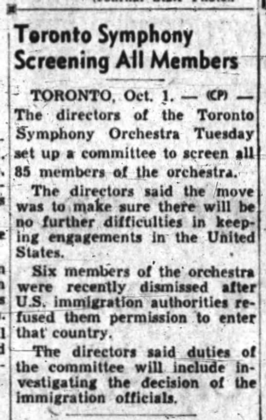Toronto Symphony Screening All Members -