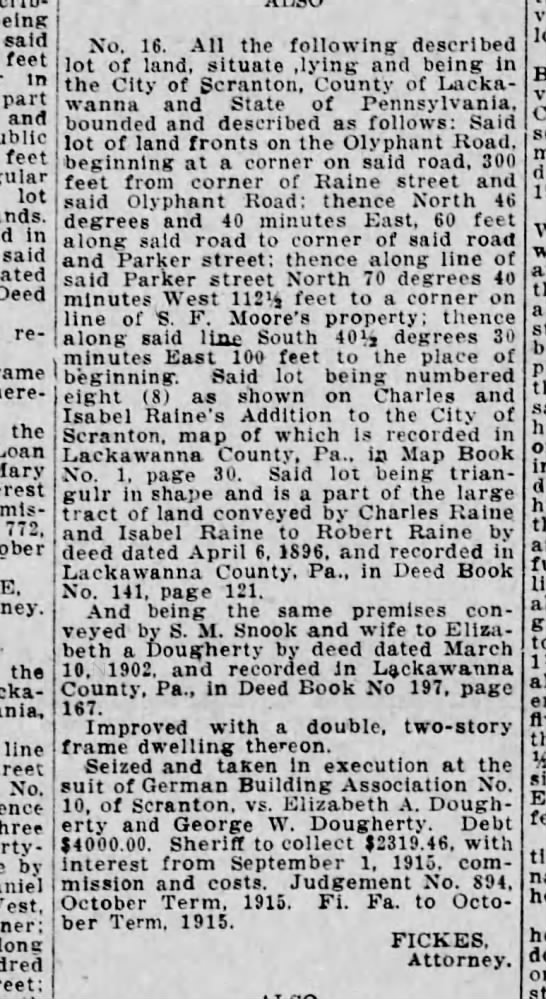 land parcle conveyed by Charles and Isabel Raine to Robert Raine by deed  (4/6/1896 -