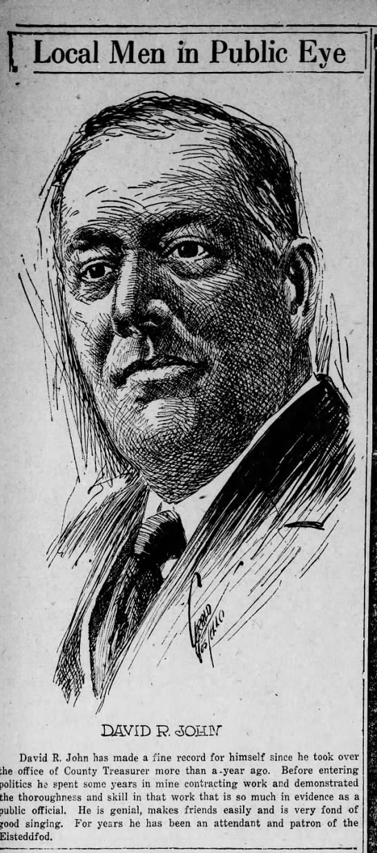 Jerry Costello Portrait of David R. John Scr Rep Jan 17 1919 pg 14 -