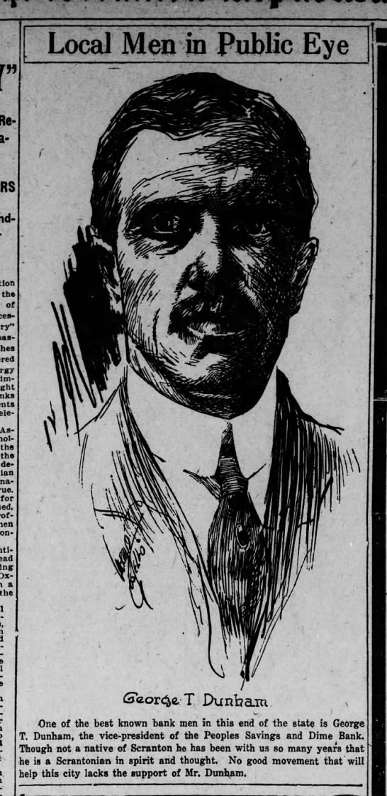 Jerry Costello Portrait of George T Dunham Scr Rep Jan 21 1919 pg 14 -