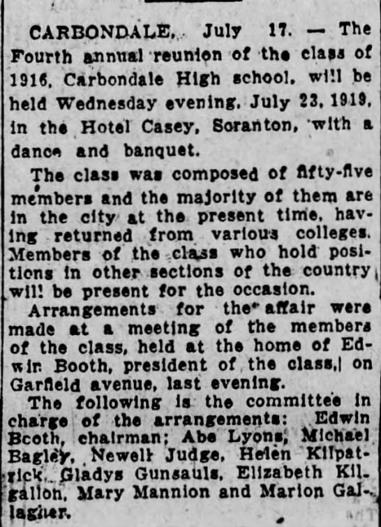 class of 1915 reunion Carbondale PA -