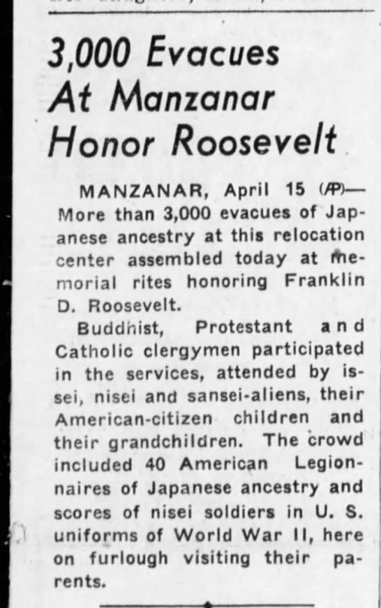 Manzanar Roosevelt 1945 -