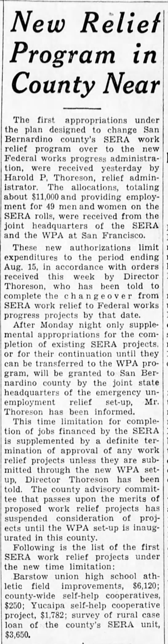 7-13-1935 New Relief Program in County Near -