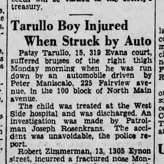 Patsy Tarullo, 15, hit by a car. Scranton, Penn 1933 -
