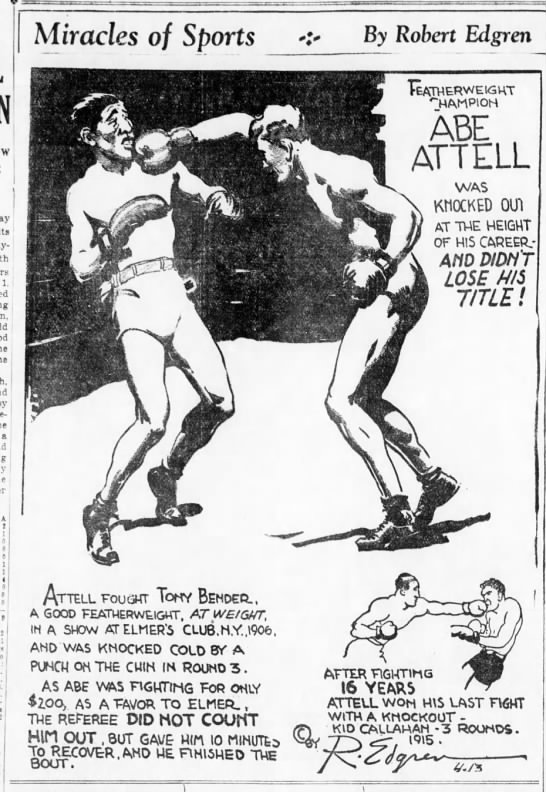 Abe Attell was knocked out, retained title -