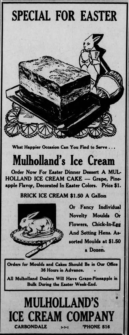 Easter Ad for Mulholland's Ice Cream -