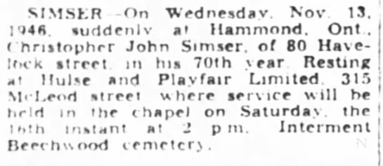 - MMSKR -On Wednesday. Nov 13. 1948. suddenly at...