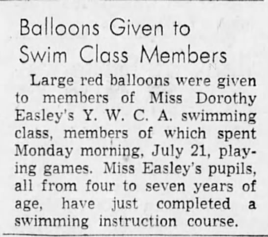 Dorothy Easley, YWCA, The Sun, 27 July 1947 -