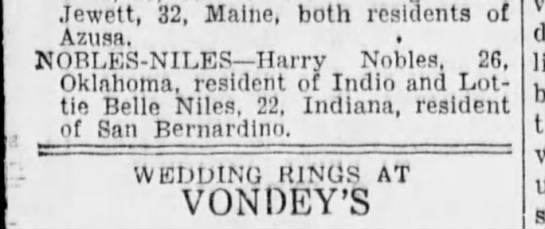 "Harrison ""Harry"" Nobles married Lottie Belle Niles 1936 -"