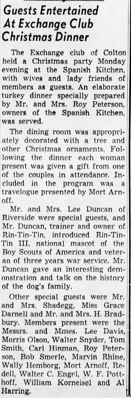 1948 Dec 22 - guest William Korneisel attend Exchange Club Christmas Party -