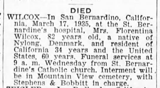 Florentina Wilcox - Obituary - San Bernardino County CA Sun