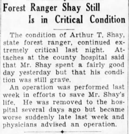 Shay Still Critical 3/18/1931 -