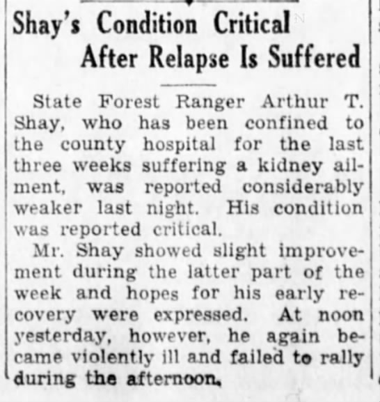 Shay Condition Critical Suffers  Relapse  3/29/1931 -