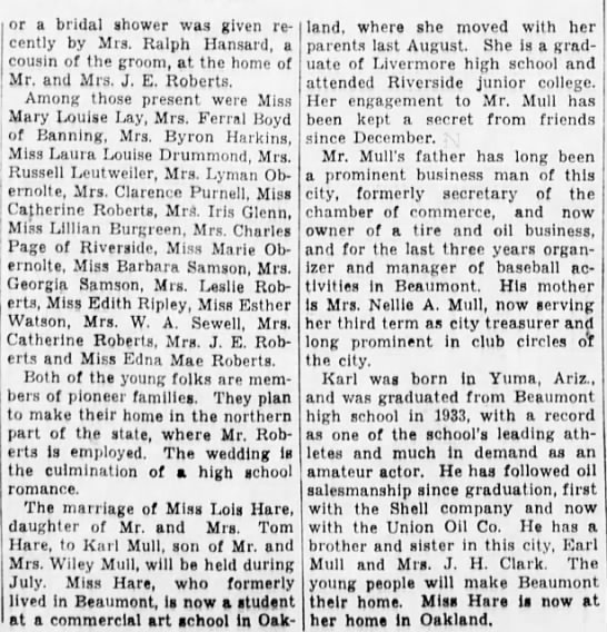 Engagement of Lois Hare to Karl Mull 1936