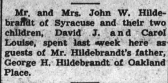 Hildebrandt - Mr. and Mrs. John W. Hilde- braffdt of Syracuse...