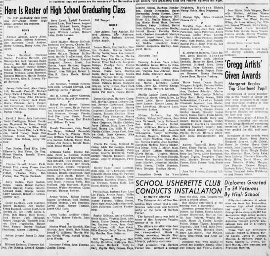 San Bernardino HS Class of 1948, Tom Easley, The Sun 11 June 1948 -