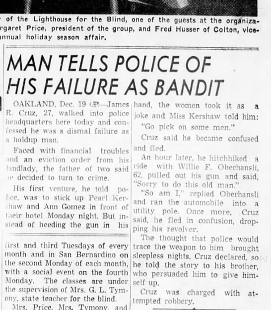 Willie F. Oberhansli gave ride to would be thief & escaped -