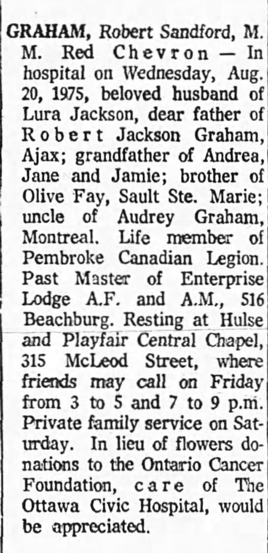Obituary: Robert Sandford Graham, M.M. Red Chevron -