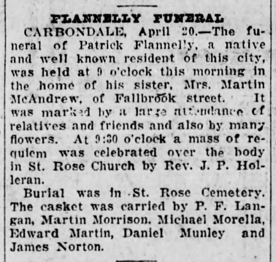Funeral of Patrick Flannelly -