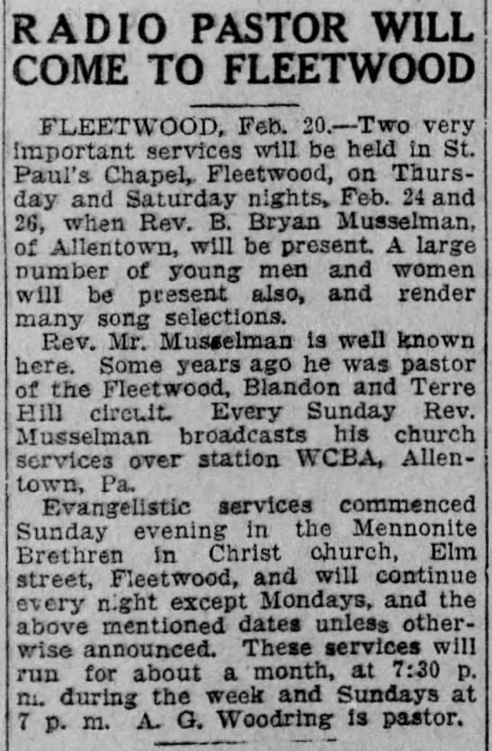 Read. Times - 2/21/1927 - BB Radio pastor -