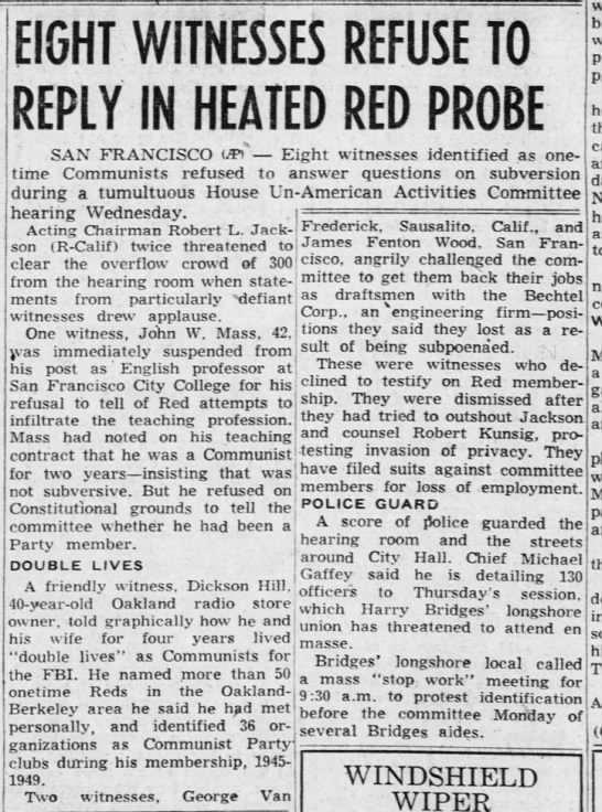 Eight Witness Refuse to Reply in Heated Re Probe - Dec 03 1953 -