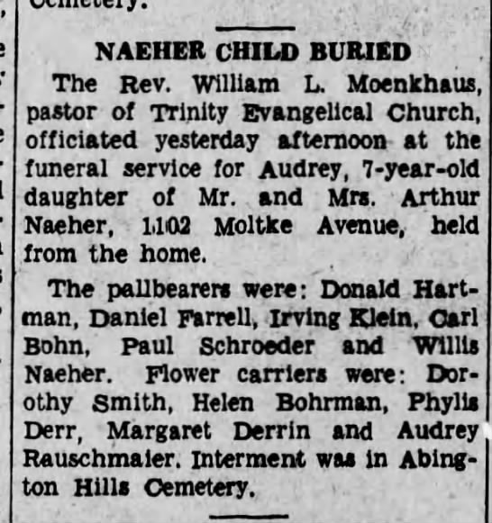 05121936naeher obit - . A NAEHER CHILD BURIED The Rev. William L....