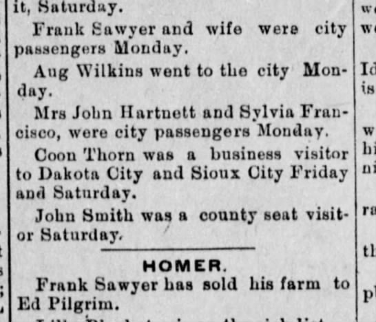 Frank sells farm.  Reported as city passengers. -