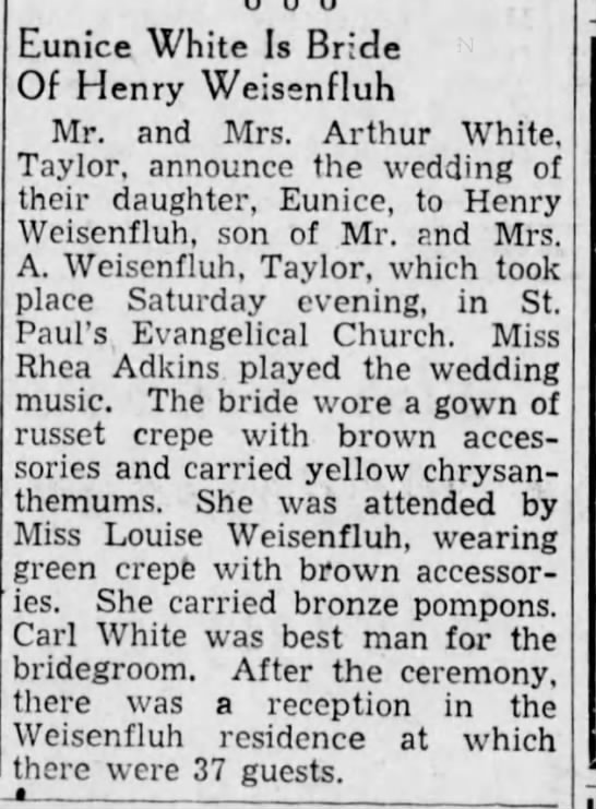 Weisenfluh and White Eunice wed The Scranton Republican 28 Oct 1936, page 12 -