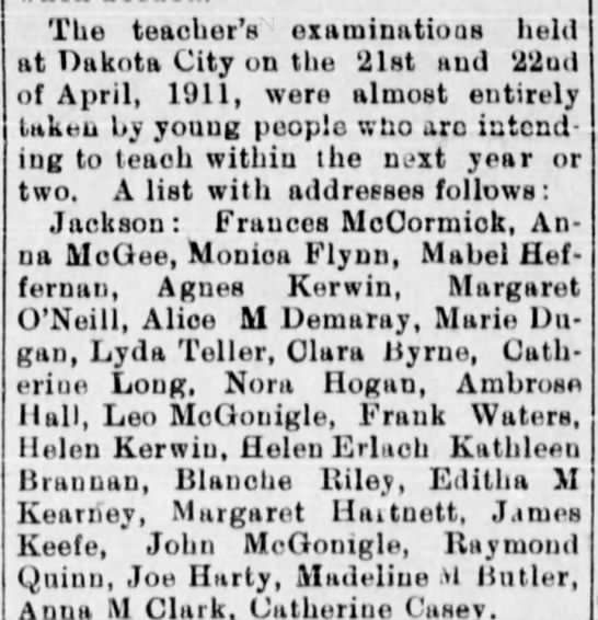 Took Teacher's Exam at Jackson, NE - Newspapers com