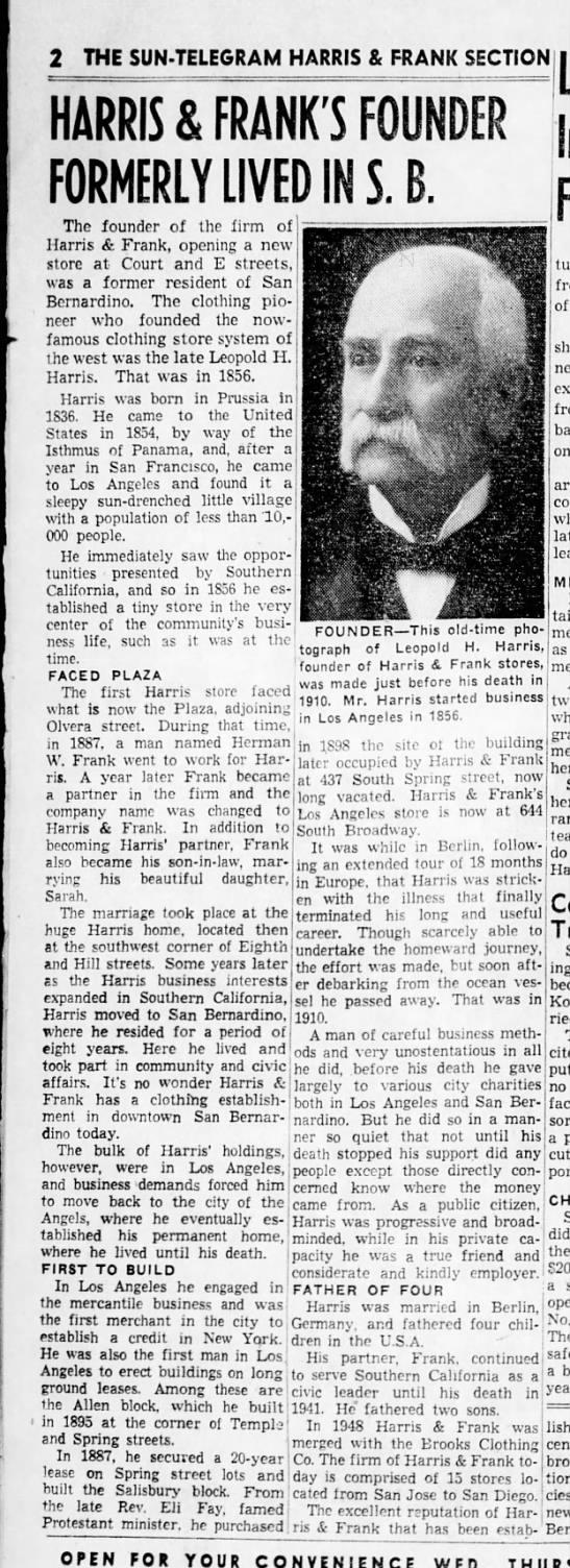 Harris & Frank - Leopold Harris Biography, time in San Bernardino -