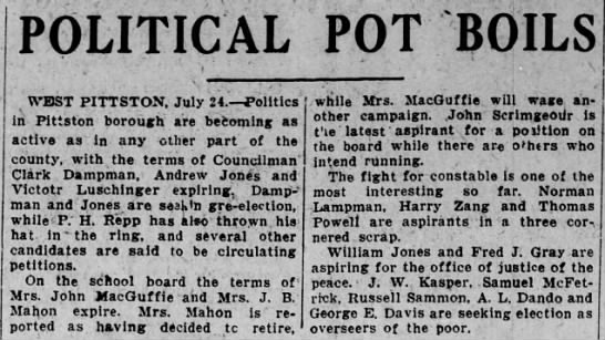 - POLITICAL POT B 3 a WEST PITTSTON, July 24....