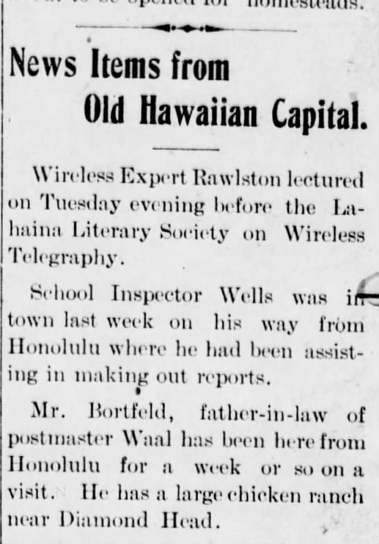 Maui News 13 Feb 1909 - JAB visits the Waals -