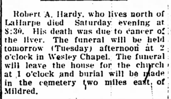 Robert Hardy obit 3 February 1919 - Robert .A. Hardy, who lives north of Lnillartie...