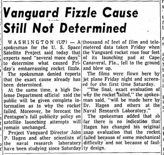 """Embarrassing Rocket Fizzle"" Still Unexplained -"